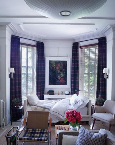 Single bed in a room with square striped curtains - Small Room Ideas - Interior Design and Decoration