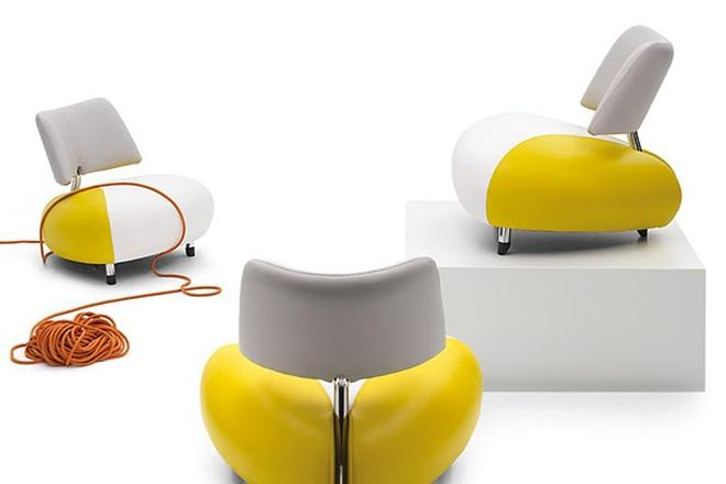 White and yellow futuristic leather armchair - Desing by Leolux
