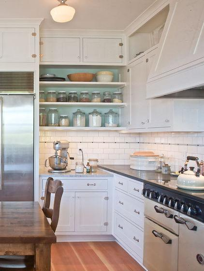 White kitchen shelves for kitchen supplies - Low-Budget Ideas and Ways To Bring the Summer into your Kitchen