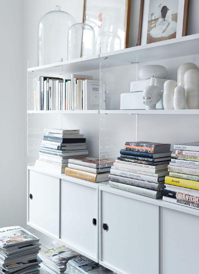 White wooden bookshelves Completing the Furniture