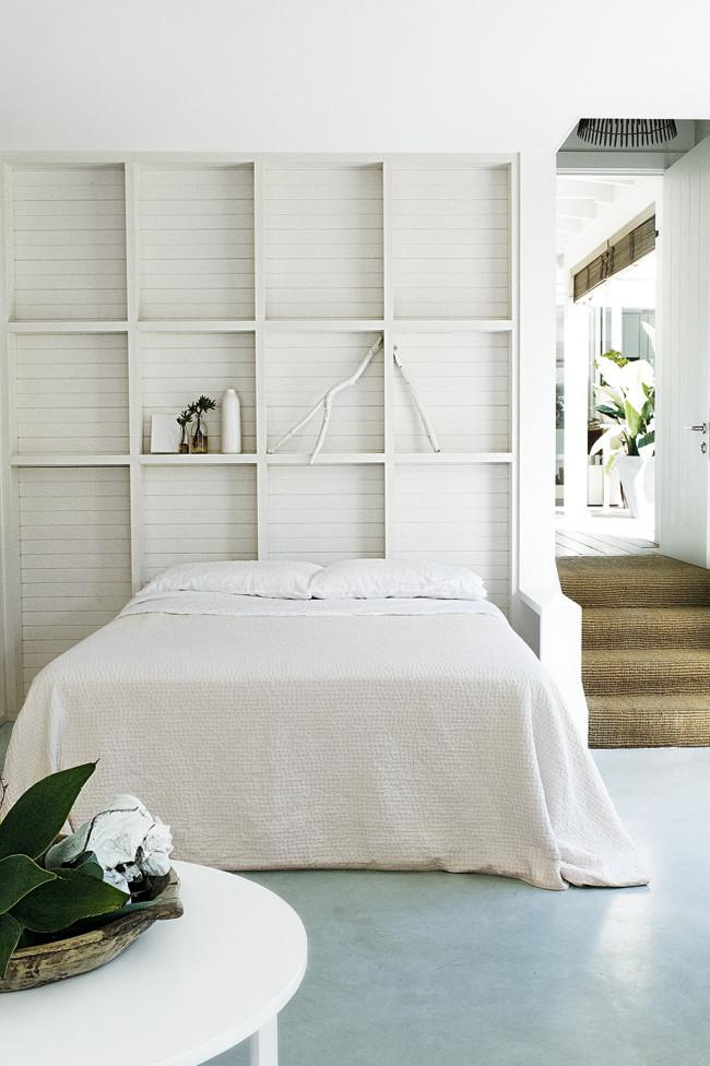 White wooden wall shelves above the bed - Amazing Home Decorating Style Trends and Ideas