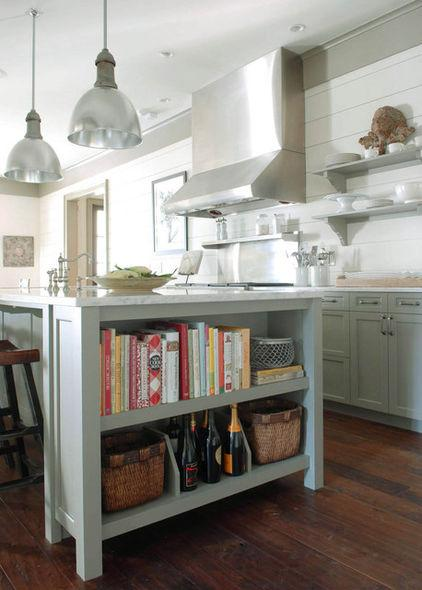 Wooden bookshelves inside a kitchen cupboard - Low-Budget Ideas and Ways To Bring the Summer into your Kitchen