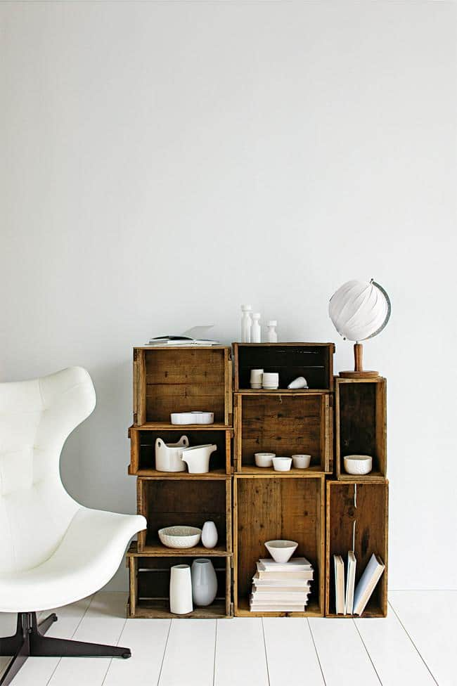 Wooden boxes used as bookshelves - Amazing Home Decorating Style Trends and Ideas