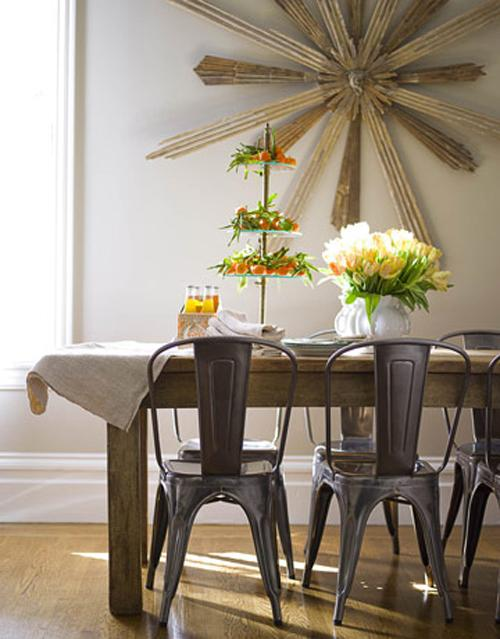 Wooden dining table with flowers on it - Home Interior Decorating Tips - 6 Easy to Follow Ideas