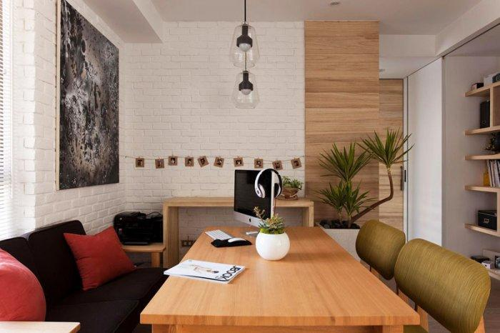 Wooden dining table - Japanese Minimalist Apartment Interior Design by Fertility Design