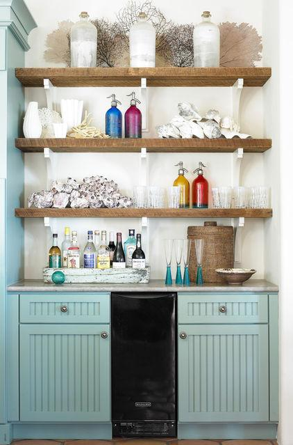Wooden shelves above beverages bar - Low-Budget Ideas and Ways To Bring the Summer into your Kitchen