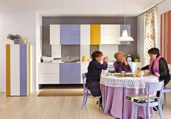Yellow and purple kitchen cupboards Ideas for Kitchen Furniture