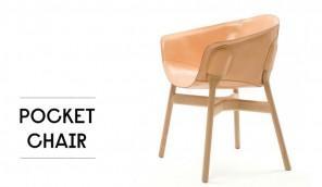 Elegant Brown Leather Pocket Chair Design by DING3000