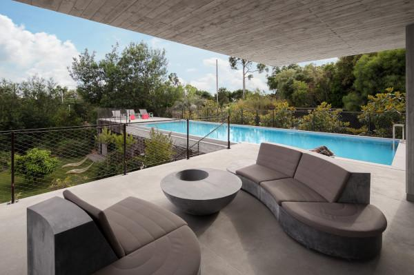 Comfortable luxury terrace furniture - The Contemporary Architecture of a French Luxury House