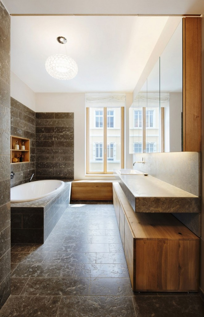 Contemporary bathroom with granite tiles - The Contemporary Design of a Three Story Building