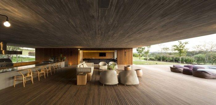 Contemporary living room interior design in a spacious house in Brazil