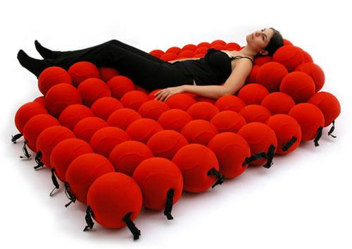Creative bed made of soft balls - Exciting and Creative Sitting Furniture Design Examples