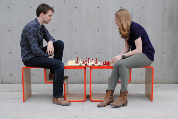 Creative bench and chess table in one - Twofold Bench Design by After Architecture - A Home/Street Seat