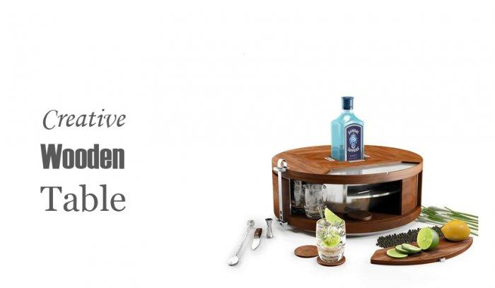 Creative Wooden Table - The Bombay Sapphire Gin Wheel