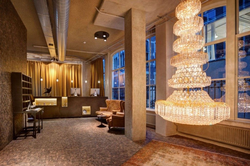 the fantastic eclectic interior design of a hotel the reception desk and the entrance hall