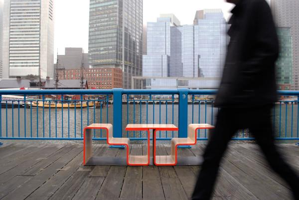 A sitting bench at Fort Point Channel in Boston - Twofold Bench Design by After Architecture - A Home/Street Seat