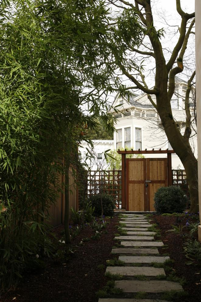 Garden path to a luxury house in Ashbury Heights, San Francisco