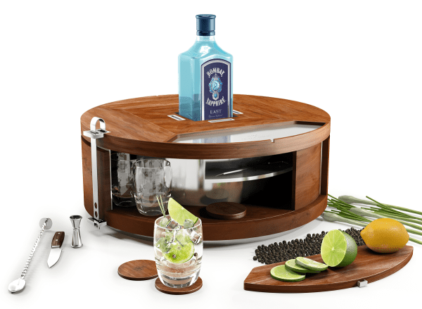 Home cocktail mini bar - The Bombay Sapphire Gin Wheel