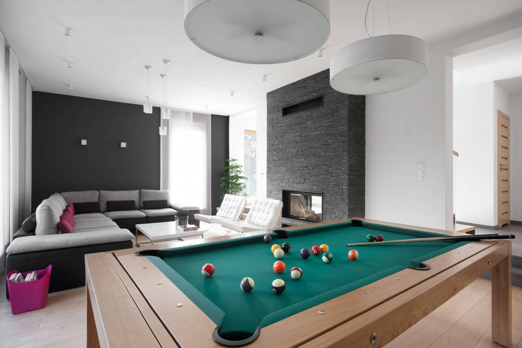 Home living room pool table - Contemporary Family House in Poland with Minimalist Touch