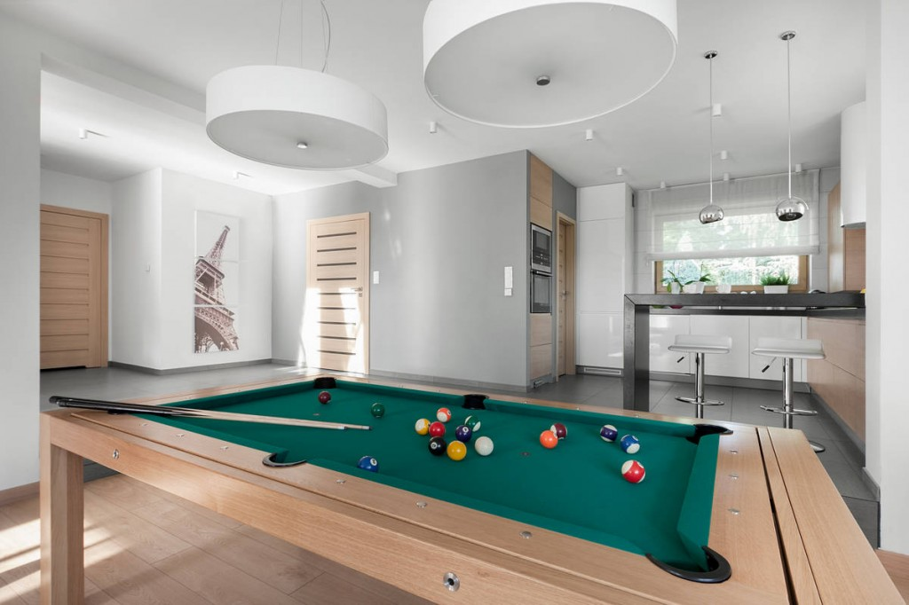 Home pool table for leisure time - Contemporary Family House in Poland with Minimalist Touch