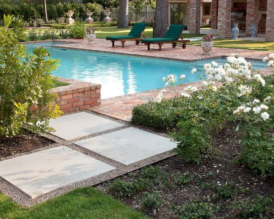 Huge tiles leading to a garden swimming pool - Classical Garden Decoration Ideas from a Real Estate