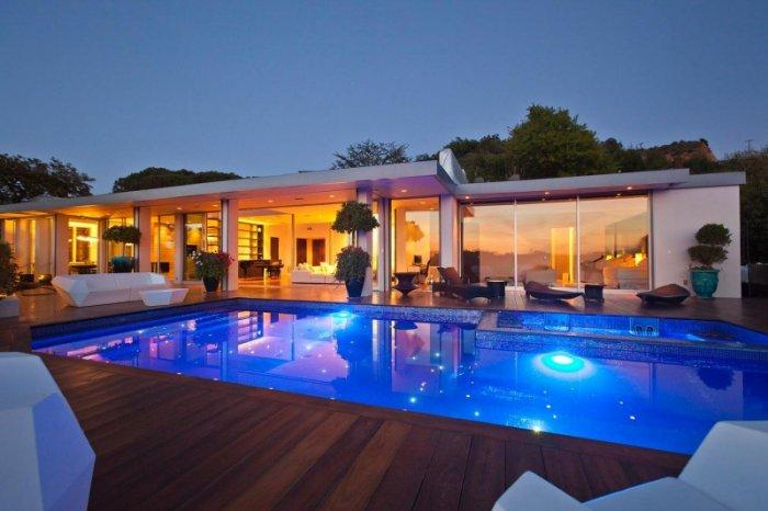 Luxury Beverly Hills swimming pool by night - A Home in Beverly Hills - Stunning One Story House