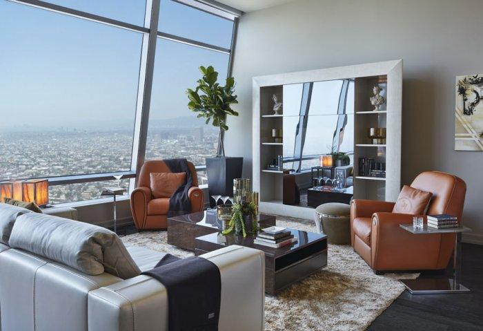 Leather furniture in Luxury Los Angeles Penthouse in Ritz-Carlton Residences