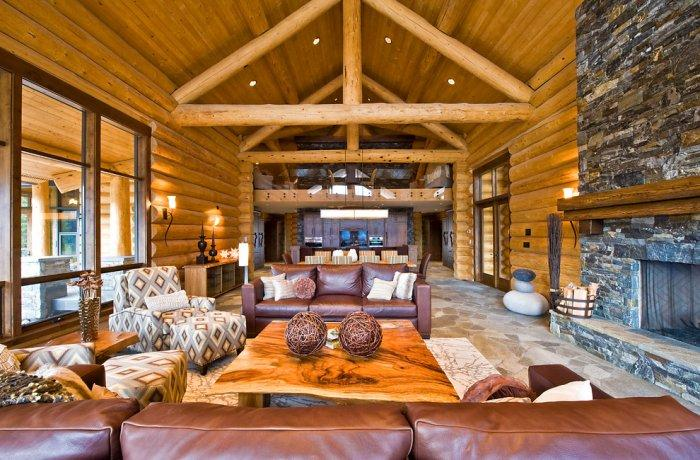 Luxury living room design in eclectic mountain lodge - Eclectic Luxury Weekend Getaway nested in the Canada