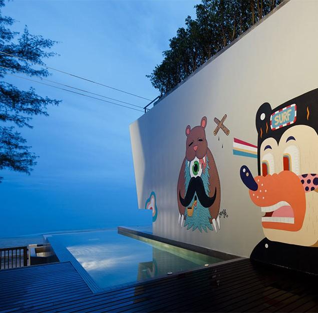 Minimalist House Design with Bear Graffiti in Thailand