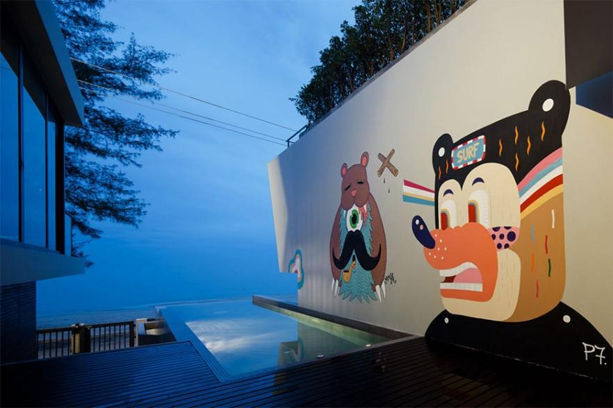 Minimalist House Design with Bear Graffiti in Thailand