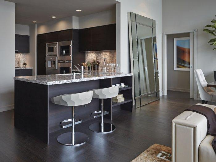 Modern kitchen bar stools in Luxury Los Angeles Penthouse in Ritz-Carlton Residences
