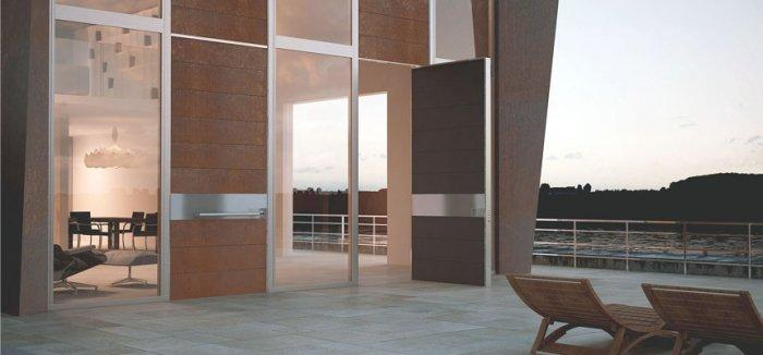12 Pivot Doors Leading to Outdoor Patios - Ideas and Examples