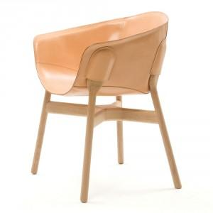 Elegant Brown Leather Pocket Chair Design by DING3000