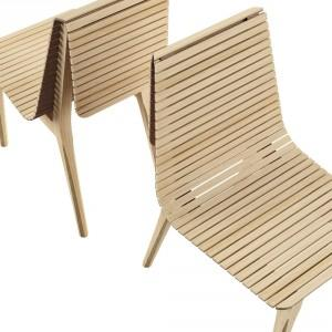 Creative Wooden Chair Design - Slatted wood roll cork back of the chair