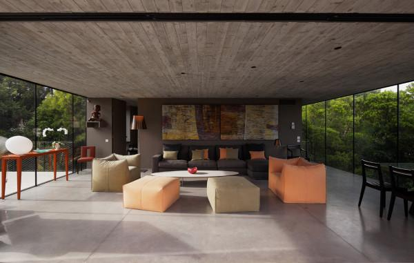 Spacious living room design in a luxury French house - Contemporary Architecture