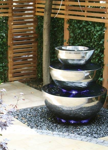 Three Tiered Chalice Water Feature - Contemporary Garden Furniture and Decoration Ideas