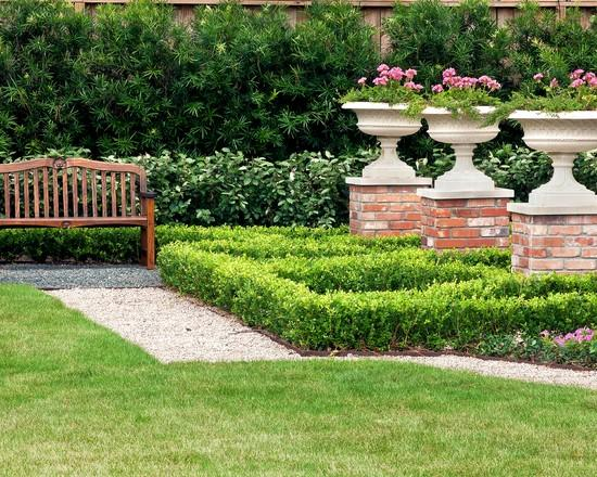 Wooden bench and flower vases - Classical Garden Decoration Ideas from a Real Estate