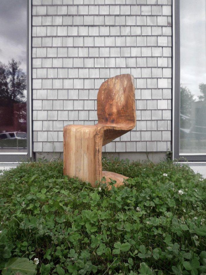 Wooden panton chairs used as an outdoor sculpture created by Matthias Brandmaier
