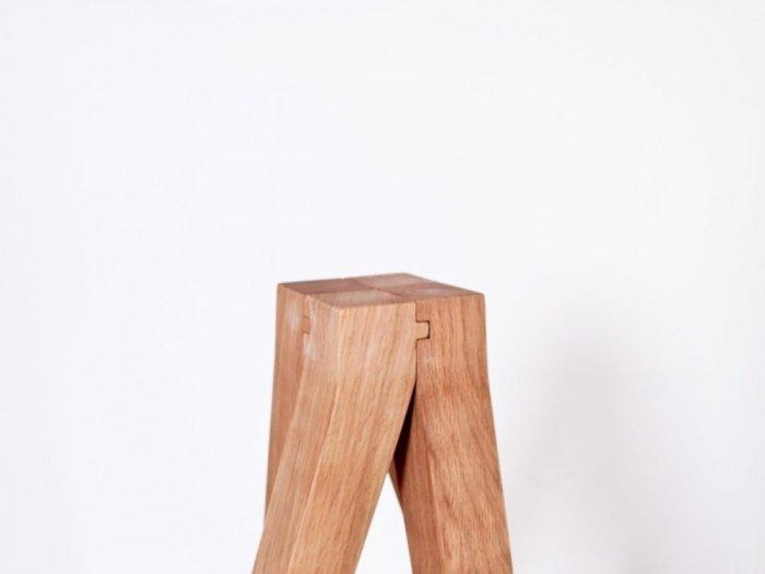 Franck Divay - White concrete and wood stool – furniture- Inside2013 Competition Award Winners