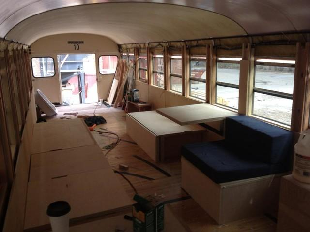 Creating modular units for a holiday cabin in a Bus by Hank Butitta