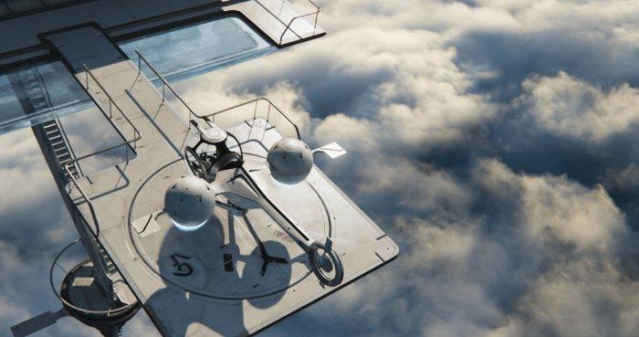 "Futuristic landing pad - Concept of Earth Living in ""Oblivion"""