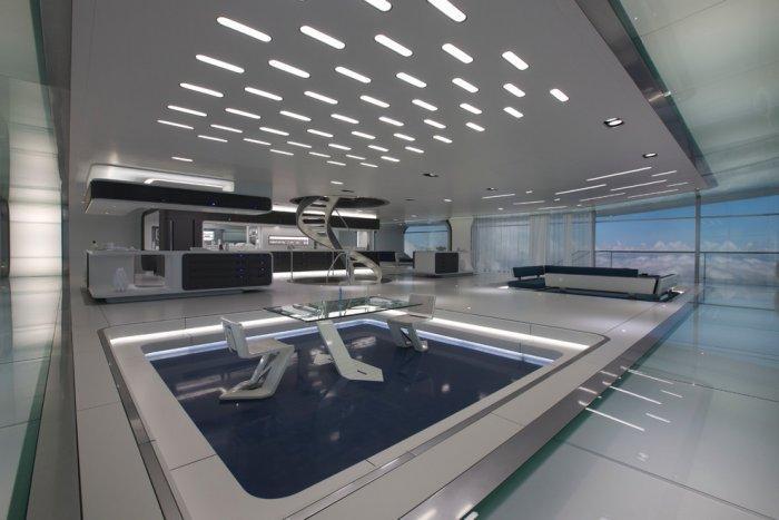 "Futuristic minimalist living room interior - Concept of Earth Living in ""Oblivion"""