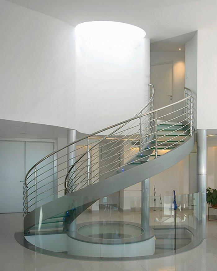 """Glass spiral staircase - Concept of Earth Living in """"Oblivion"""""""