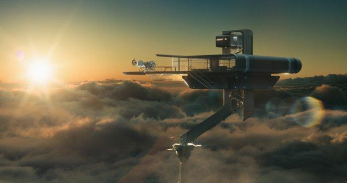 """A house from the future floating in the clouds - Concept of Earth Living in """"Oblivion"""""""