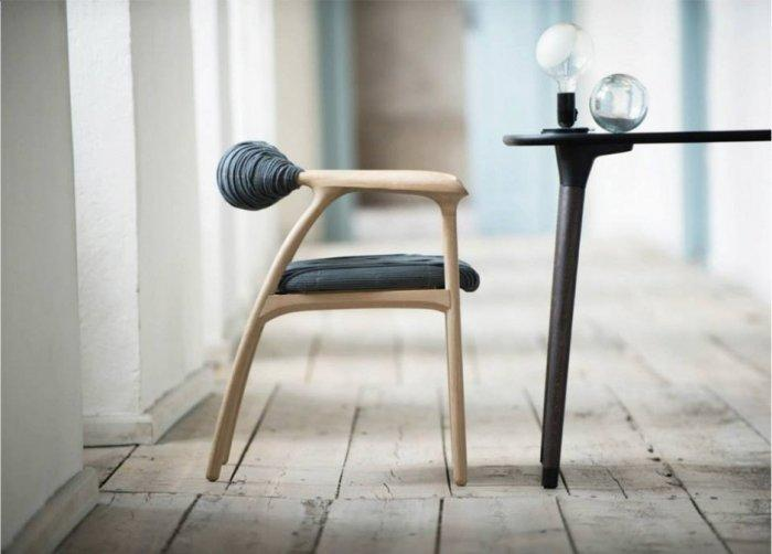 Oak wood and fabric rustic chair by Trine Kjaer Design Studio