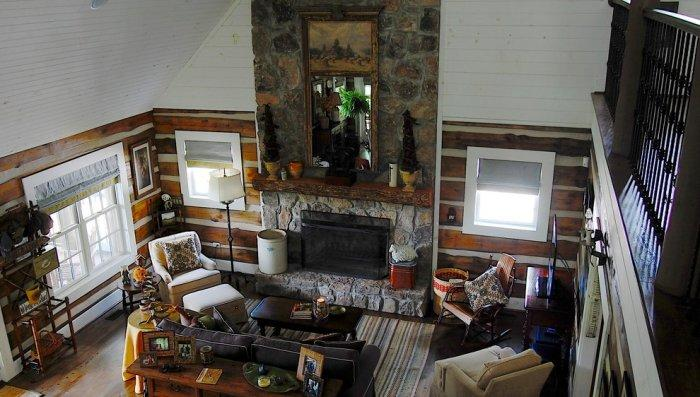 Overview of the first floor - The Rustic Interior Design of a Mountain Log Cabin in Alabama