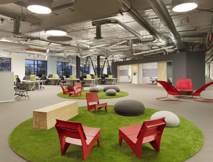 Relaxing and working areas are separated in the office - Skype HQ's Modern Office in California - by Design Blitz