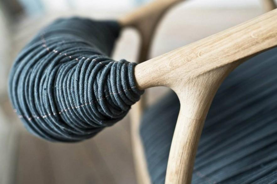 Oak Wood and Fabric Chair by Trine Kjaer Design Studio