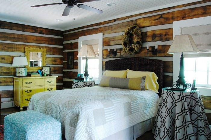 The master bedroom - The Rustic Interior Design of a Mountain Log Cabin in Alabama