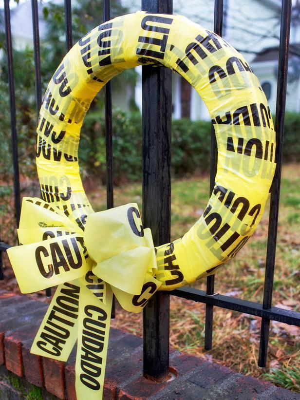 Caution Halloween wreath - made of police tape